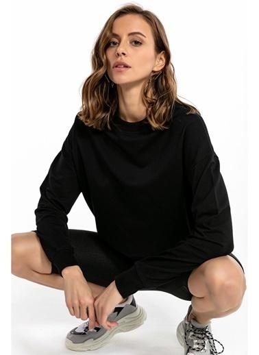 Tiffany&Tomato Bisiklet Yaka Uzun Kollu Sweatshirt - Mint Siyah